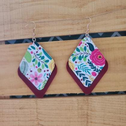 Floral Leather Layered Earrings, Ma..