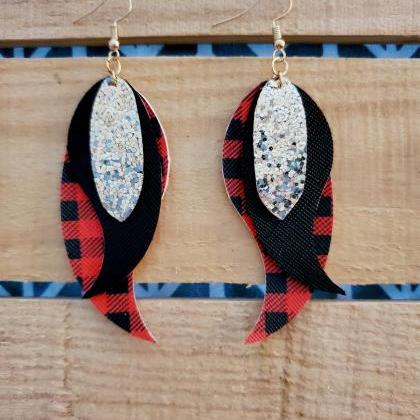 Buffalo Plaid Feather Earrings, Tri..