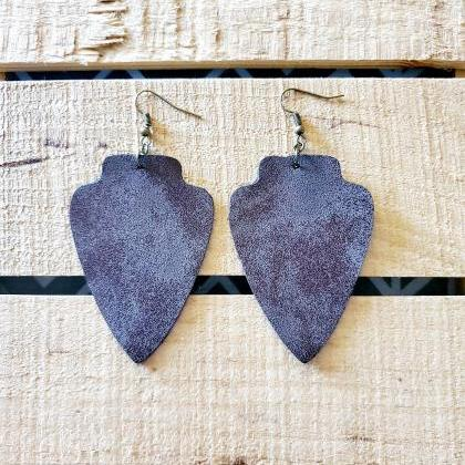 Arrowhead Leather Earrings, Rustic ..