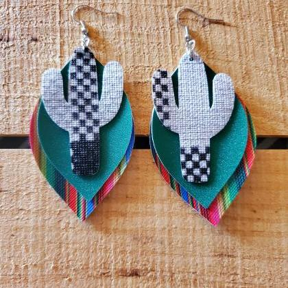 Aztec Leather Earrings, Serape Leat..