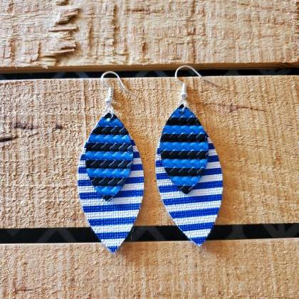 Blue and White Striped Leather Earr..