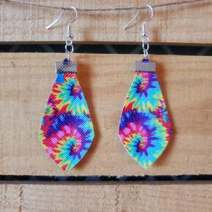 Tie Dye Leather Earrings, Boho Chic..