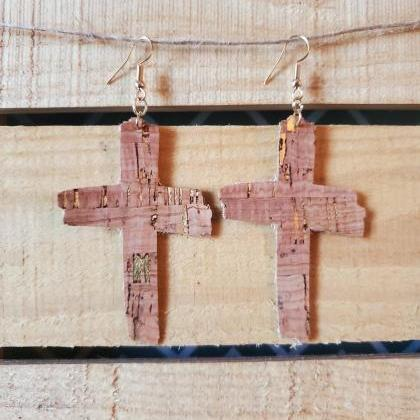 Rugged Cross Cork Leather Earrings,..