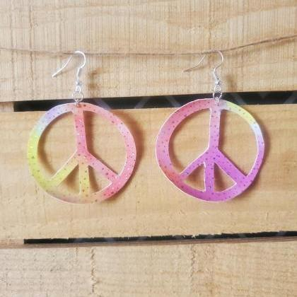 Peace Sign Leather Earrings, Hippie..