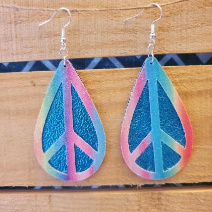 Rainbow Peace Earrings, Bright Leat..
