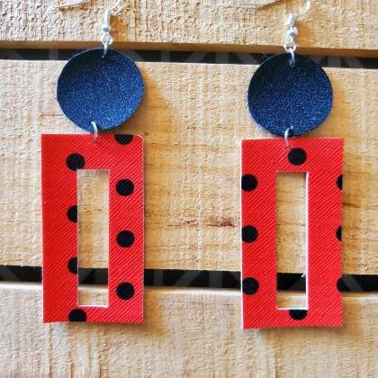 Red and Black Polka Dot Leather Ear..