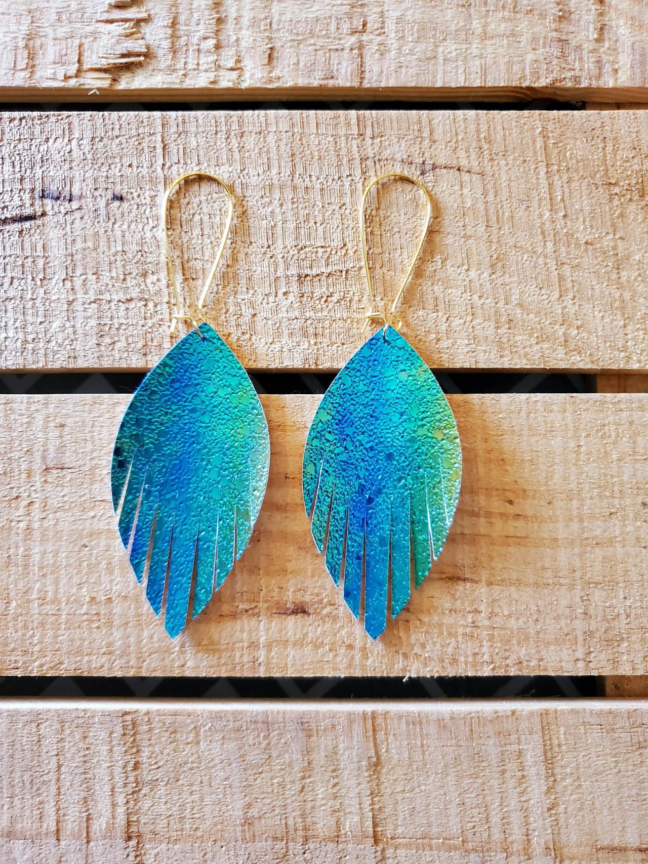 Rainbow Metallic Feather Earrings, Blue and Green Leather Earrings, Trendy Earrings, Lightweight Jewelry, Boho Chic Dangles Earrings, Gift