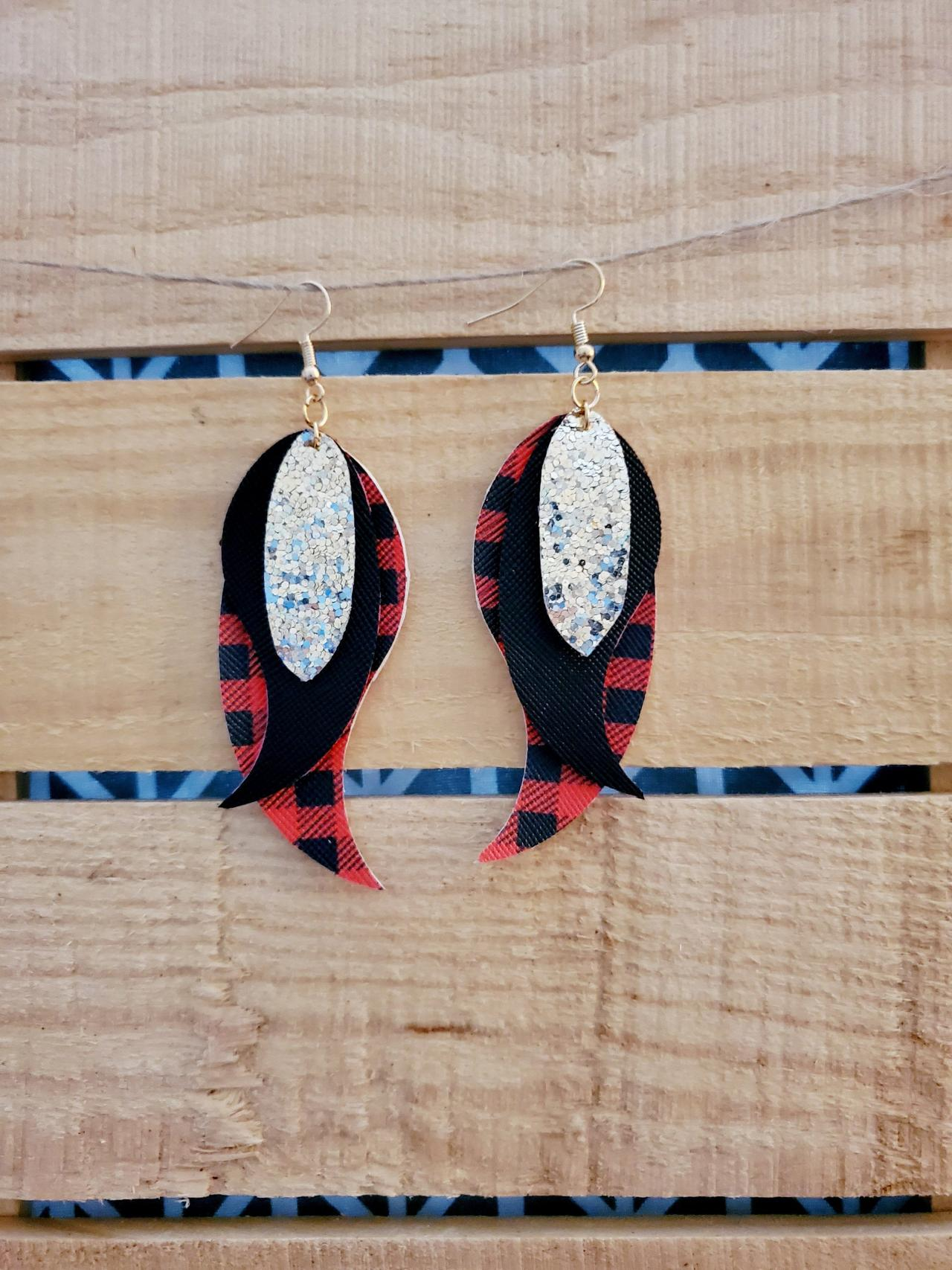Buffalo Plaid Feather Earrings, Triple Layer Jewelry, Sparkly Earrings, Everyday Wear Earrings, Red Black Leather Earrings, Gold Glitter