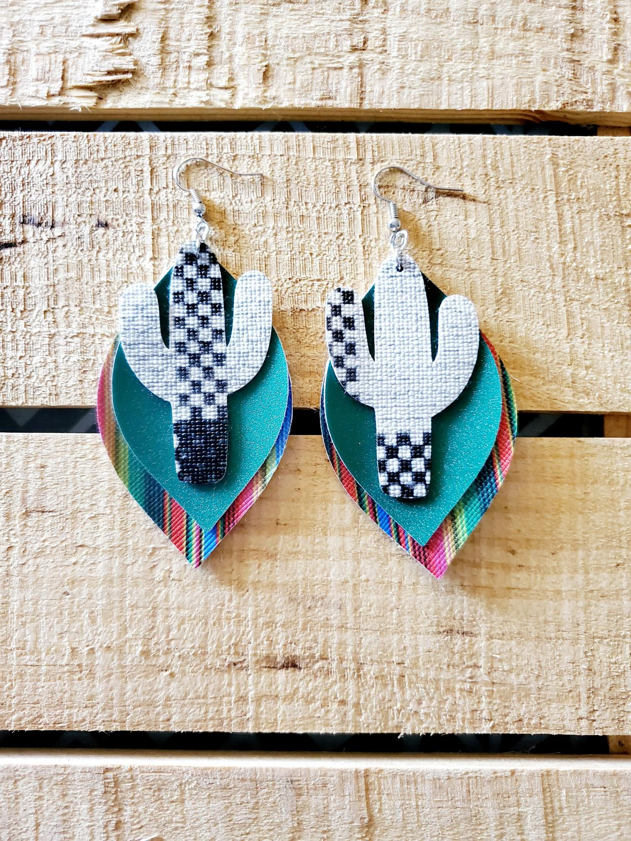 Aztec Leather Earrings, Serape Leather Earrings, Tribal Earrings, Boho Earrings, Bohemian Jewelry, Tribal Jewelry, Fine Glitter Earrings