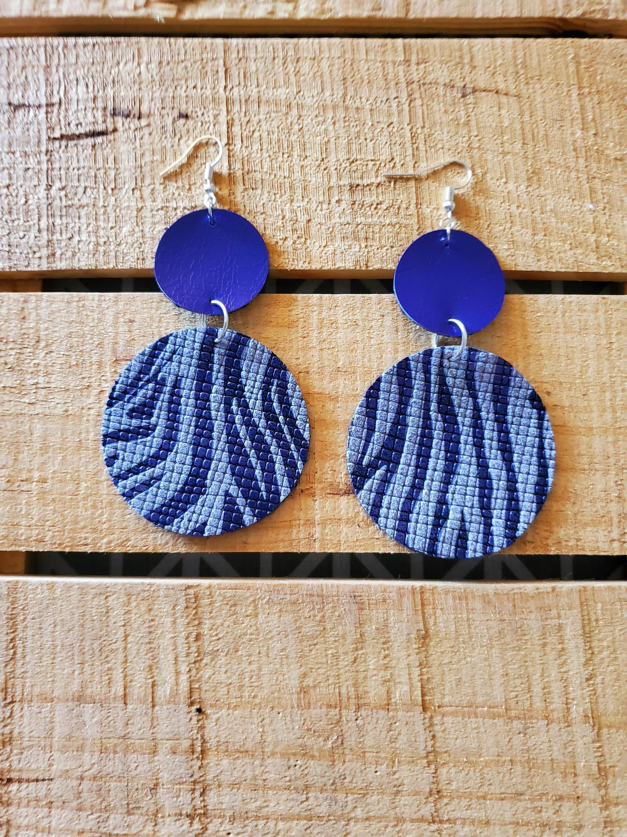 Purple and White Zebra Print Leather Earrings, Double Circle Earrings, Round Earrings, Boho Leather Earrings, Purple and White Earrings,