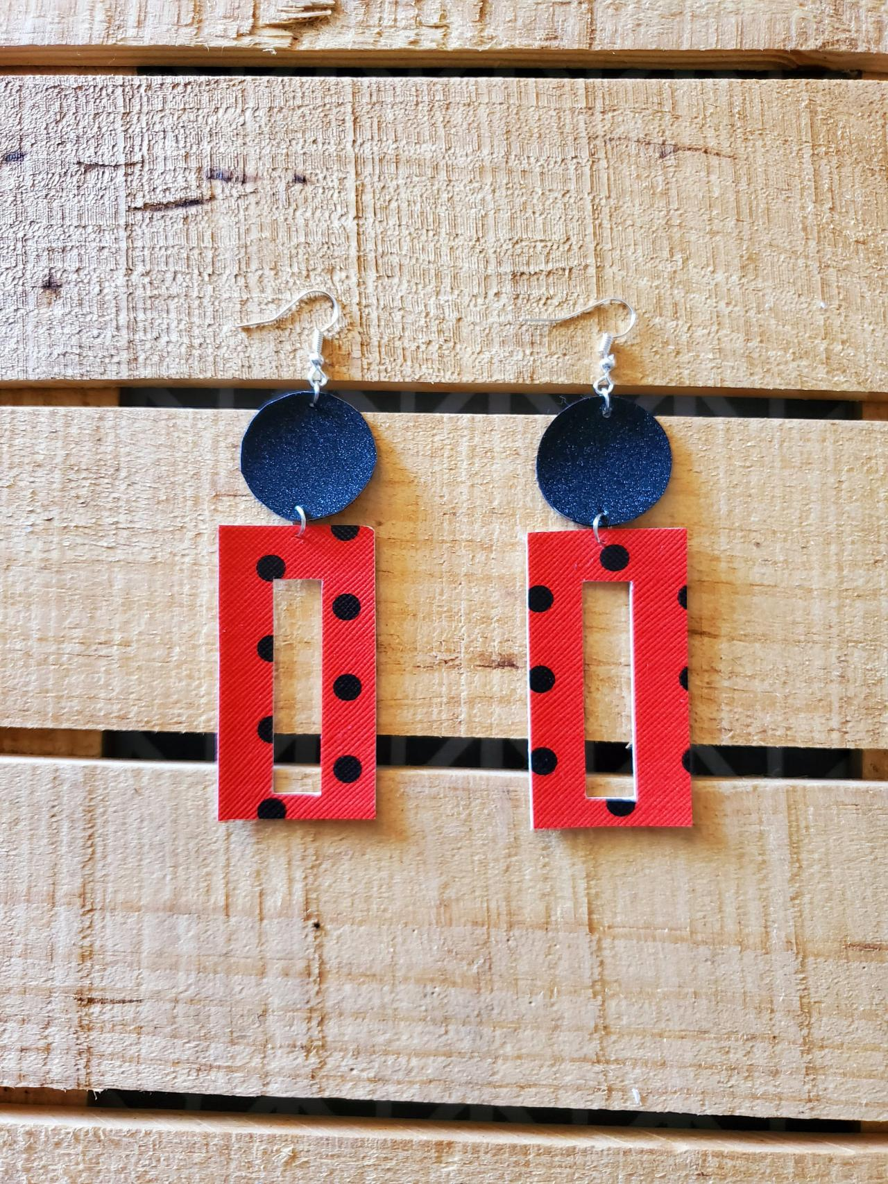 Red and Black Polka Dot Leather Earrings, Rectangle Earrings, Red and Black Earrings, Womans Gift, Fall Jewelry, Christmas Present, Dangles