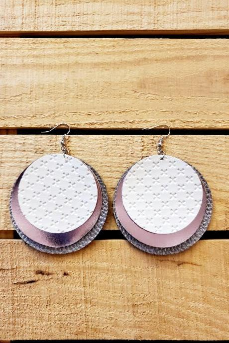 Rose Gold Circle Earrings, White Leather Earrings, Triple Layer Leather Earrings, Boho Chic Jewelry, Rustic Earrings, Round Leather Earrings