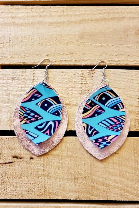 Rose Gold Earrings / Turquoise Jewelry / Trendy Earrings / Lightweight Earrings / Boho Earrings / Dangle Earrings / Faux Leather / Hippie