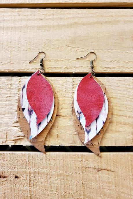 Cork Leather Triple Layer Earrings, Boho Feather Earrings, Red Distressed Leather, Boho Chic Earrings, Rustic Jewelry, Lightweight Earrings