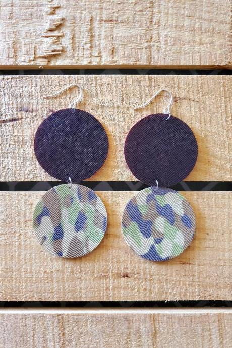 Split Circle Leather Earrings, Camo Faux Leather, Camouflage Leather Earrings, Hinged Earrings, Camo Jewelry, Hunting Earrings, Gift for Her