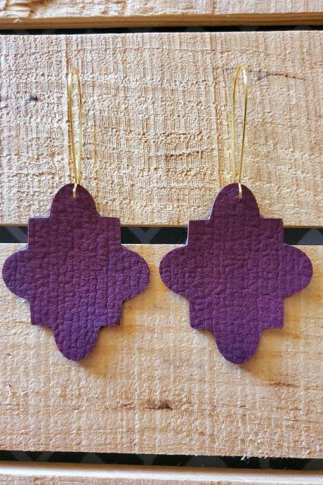 Fall Leather Earrings, Distressed Leather Earrings, Autumn Leather Jewelry, Moroccan Earrings, Aztec Jewelry, Leather Dangles, Gift for Her
