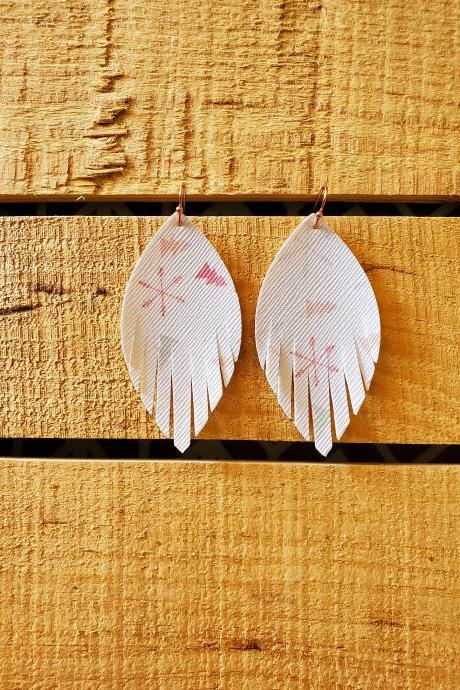 Leather Leaf Earrings, Christmas Leather Earrings, Holiday Jewelry, Leather Dangles, Snowflake Earrings, Christmas Trees, Boho Chic Earrings