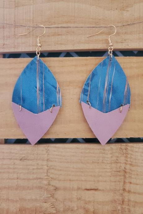 Pink and Blue Leather Earrings, Split Leather Earrings, Trendy Earrings, Distressed Leather Jewelry, Hinged Earrings, Dangle Earrings