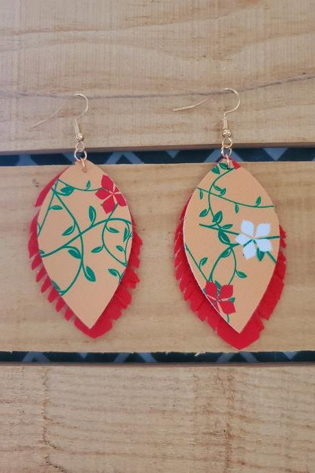 Red Yellow Floral Fringe Leather Earrings, Fringe Earrings, Floral Leather Earrings, Yellow Floral Earrings, Fringe Dangle Earrings, Boho