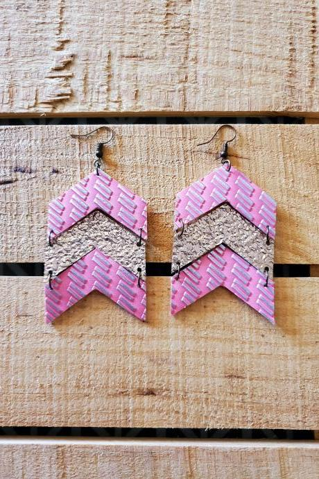 Pink and Gold Leather Earrings, Chevron Leather Jewelry, Boho Chic Earrings, Bohemian Jewelry, Trendy Leather Earrings, Womans Gift, Rustic