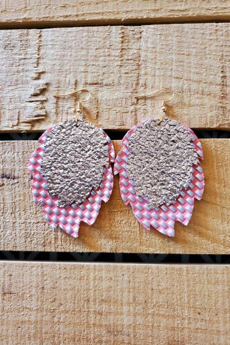 Pink and Rose Gold Layered Earrings, Leaf Shape Earrings, Pattern Earrings, Trendy Earrings, Boho Chic Jewelry, Lightweight Jewelry, Gifts