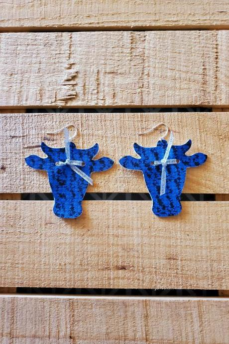 Western Farm Life Leather Earrings, Rustic Boho Jewelry, Cowgirl Earrings, Cow Head Dangles, Steer Head Leather Earrings, Western Earrings