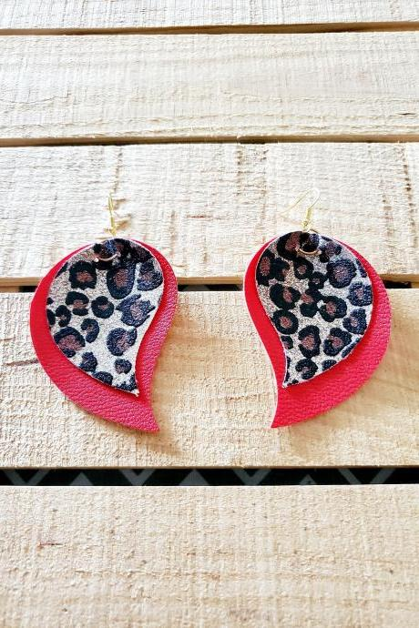 Red Glitter Leopard Leather Leaf Earrings, Red Leather Earrings, Glitter Leopard Print Earrings, Double Layer Jewelry, Leaf Shape Earrings