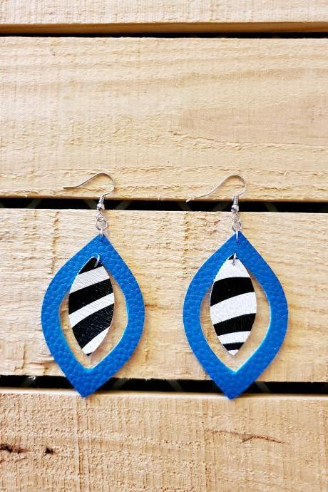 Animal Print Jewelry, Zebra Print Leather, Dangle Teardrop Earrings, Turquoise Jewelry, Statement Earrings, Minimalist Jewelry, Gift for Her