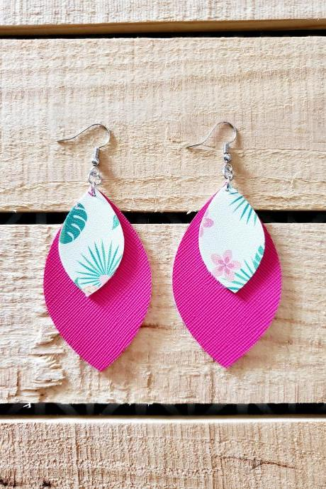 Tropical Floral Leather Earrings, Double Layer Earrings, Boho Chic Earrings, Hot Pink Leather Jewelry, Floral Earrings, Statement Earrings