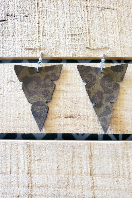 Leopard Print Arrowhead Leather Earrings, Arrowhead Leather Earrings, Tribal Earrings, Animal Print Jewelry, Leopard Print, Earrings, Tribal