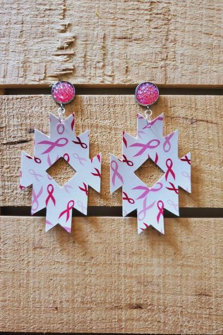 Breast Cancer Awareness Leather Earrings, Aztec Leather Earrings, October Earrings, Sparkle Earrings, Pink and White Earrings, Gift for Her
