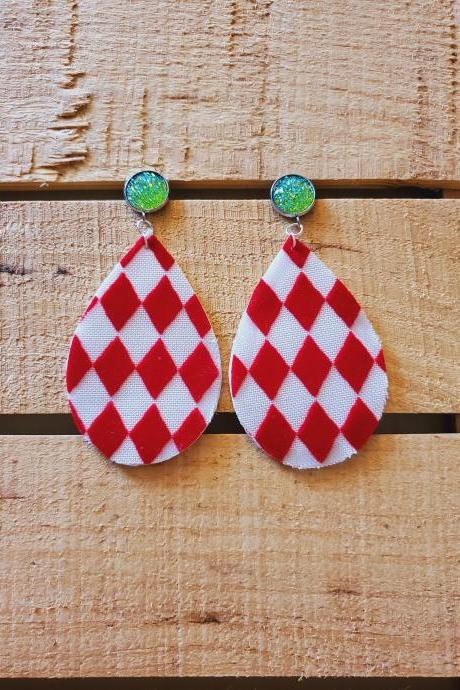 Red White Leather Earrings, Harlequin Pattern Earrings, Diamond Pattern Jewelry, Green Druzy Earrings, Sparkle Earrings, Unique Earrings