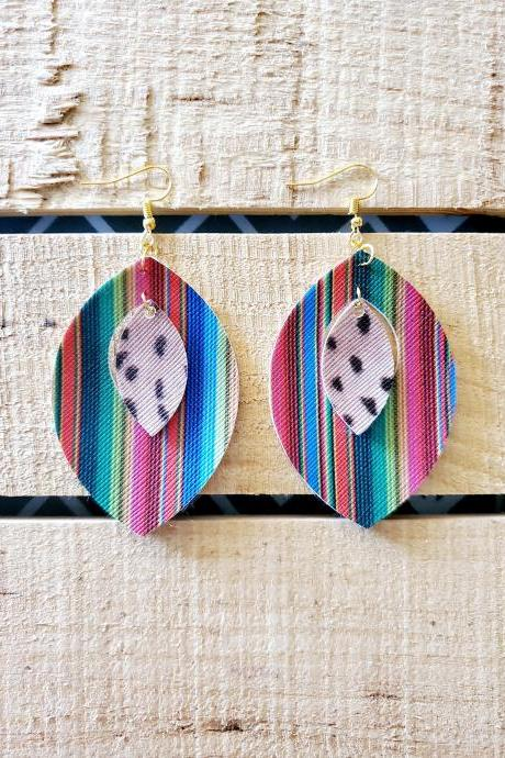 Serape Leather Earrings, Bobcat Leather Jewelry, Leaf Leather Earrings, Aztec Earrings, Southwest Earrings, Tribal Jewelry, Boho Earrings
