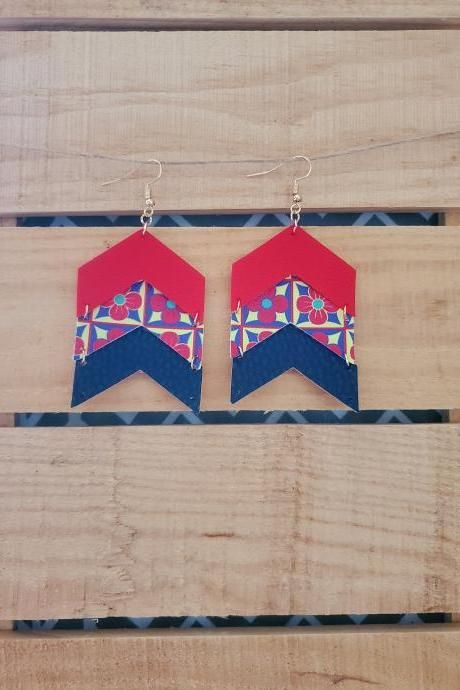Chevron Leather Earrings, Floral Dangle Earrings, Unique Earrings, Boho Chic Earrings, Red Blue Leather Earrings, Floral Earrings, Chevron