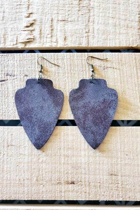Arrowhead Leather Earrings, Rustic Brown Earrings, Arrowhead Jewelry, Tribal Leather Earrings, Brown Leather Earrings, Bohemian Earrings,