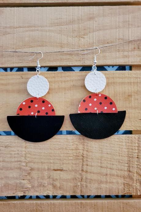 Geometric Leather Earrings, Polka Dot Jewelry, Black White Red Dangle Jewelry, Semi Circle Leather Earrings, Round Earrings, Boho Chic