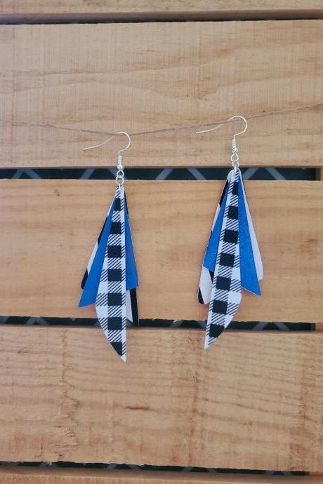 Triple Layer Dangle Leather Earrings, Houndstooth Earrings, Black White Striped Earrings, Leather Dangle Earrings, Blue Leather Earrings