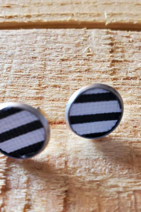 Black and White Striped Leather Stud Earrings, Striped Post Earrings, Dainty Earrings, Black and White Earrings, Minimalist Earrings, Gift