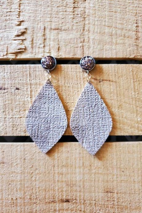 Beige Distressed Leather Earrings, Glitter Earrings, Druzy Copper Earring, Boho Chic Earrings, Cocktail Earrings, Womans Gift, Everyday Wear