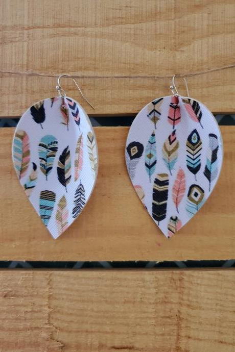 Boho Pinched Teardrop Leather Earrings, Boho Earrings, Bohemian Jewelry, Fall Feather Earrings, Faux Leather, Boho Leather Jewelry, Rustic