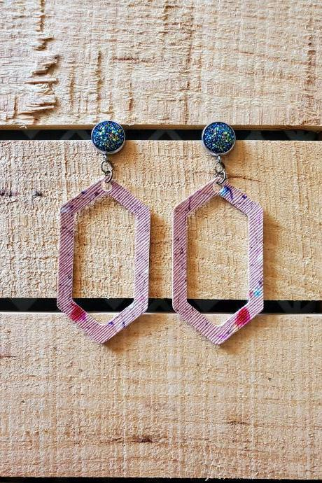 Cork Leather Earrings, Geometric Bar Earrings, Blue Druzy Dangles, Open Geometric Earrings, Trendy Jewelry, Gift for Her, Statement Earrings