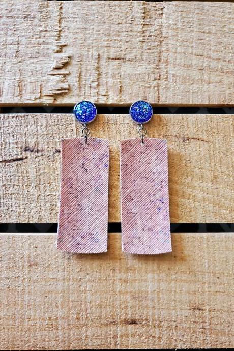 Purple Cork Leather Bar Earrings, Purple Druzy Earrings, Glitter Earrings, Sparkle Jewelry, Bar Dangles, Gift for Her, Boho Chic Earrings