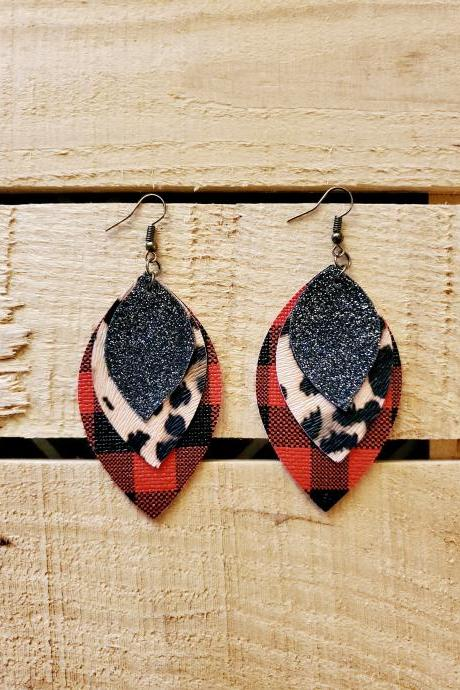 Buffalo Plaid Leopard Print Leather Earrings, Buffalo Check Jewelry, Lumberjack Earrings, Animal Print Black Glitter, Triple Layer Earrings