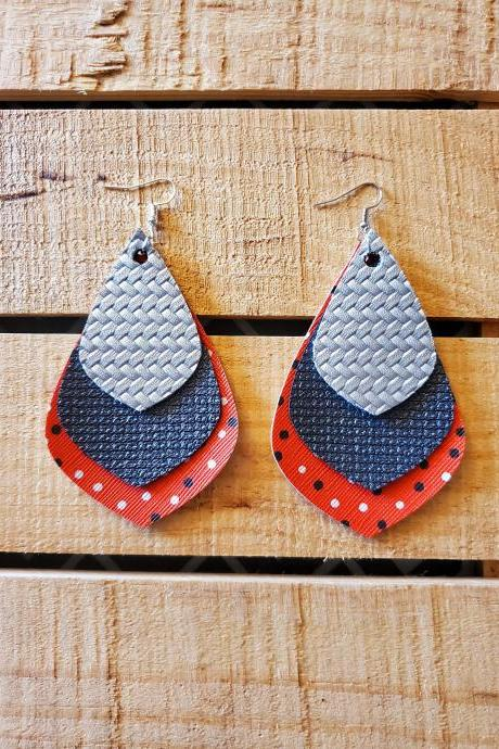 Triple Layered Leather Earrings, Red Black and Silver Earrings, Polka Dot Leather Earrings, Long Earrings, Statement Earrings, Womans Gift