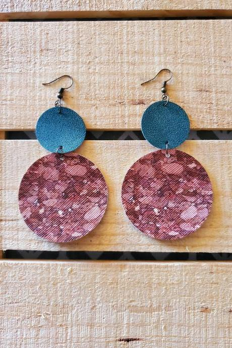 Round Cork Leather Earrings, Green Fine Glitter Earrings, Statement Earrings, Holiday Earrings, Winter Earrings, Christmas Earrings, Gift