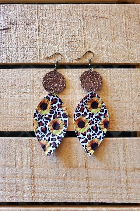 Sunflower Leopard Leather Earrings, Gold Crackle Leopard Earrings, Animal Print Jewelry, Leather Dangles, Statement Earrings, Boho Chic Gift
