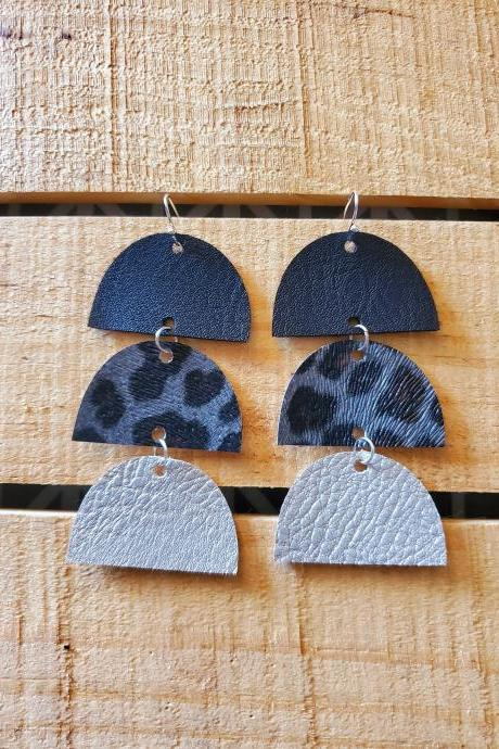 Leopard Half Circle Leather Earrings, Cheetah Semi Circle, Stacked Leather Jewelry, Black Gray and Silver Earrings, Boho Chic, Gift for Her