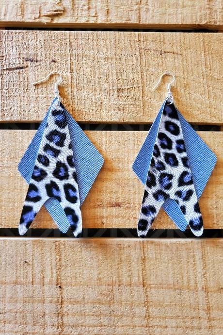 Blue Leopard Layered Earrings, Denim Blue Leather Jewelry, Blue Black and White Earrings, Statement Earrings, Trendy Earrings, Womans Gift