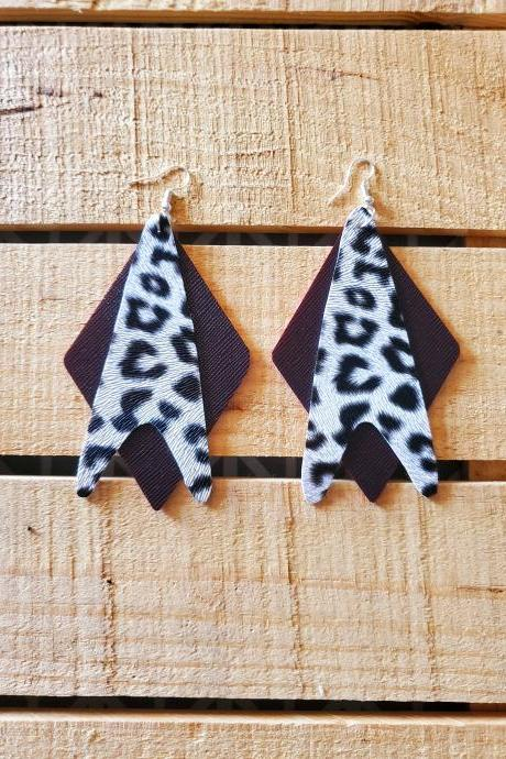 Double Layer Leather Earrings, White and Black Earrings, White Leopard Print Jewelry, Rustic Boho Jewelry, Womans Gift, Statement Earrings