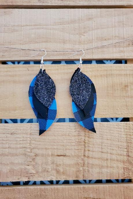 Blue Black Leather Earrings, Buffalo Plaid Triple Layer, Buffalo Check, Rustic Jewelry, Black Glitter Earrings, Statement Earrings, Boho